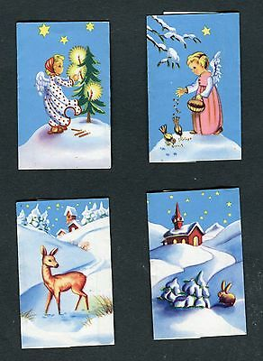 """Lindt Lunch Tablet Chocolate Wrapper Set Of 4 """"winter Scenes"""" Trade Cards"""