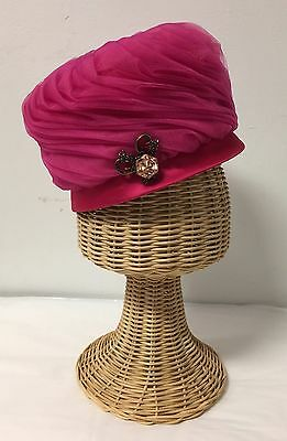 VTG 1960's MOD HOT PINK Hat Turban, Tulle with Silk, Beautiful!