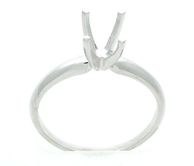 Four Prong Solitaire Engagement Ring Setting Semi Mount Classic 14K White Gold