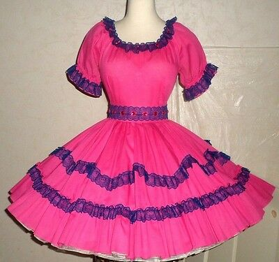 OK2 Hot pink square dance dress + wrap belt w/rows of navy lace & pink faux-gems