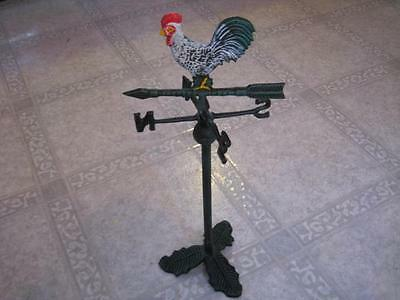 Vintage Cast Iron Tabletop Garden Rooster Weathervane 16""