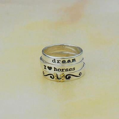Wild Horsefeathers Sterling Silver Stackable Rings for Horse Lovers Size 8