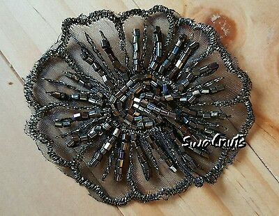 2pcs Embroidered BLACK & GOLD Beaded Organza Flower Lace Applique Patch Motif