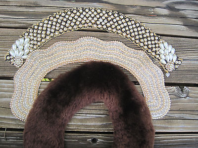 Vintage Beaded Fur Collars 3 Choker Pearl Baar Beards Japan Teardrop Brown