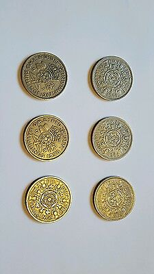 Set of 6 two shilling coin