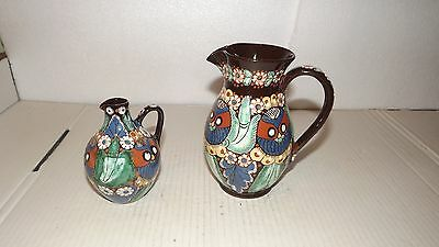 "Antique Pair of Swiss Thun Majolica ""Owl of Chrutmuster"" Pitchers."