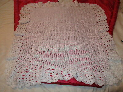 """Beautiful Hand Knitted/Crochet Baby Blanket 33""""x 30"""" Approx  White New"""