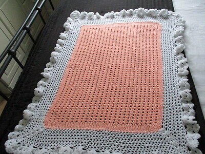 """Lovely Hand Knitted/Crochet  Baby Blanket 32""""x 25"""" Approx  White/Peach New"""