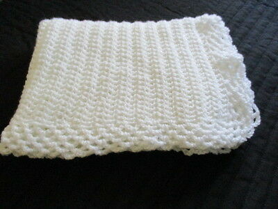 """Lovely Hand Knitted/Crochet Baby Blanket 36""""x 28"""" Approx  White New"""