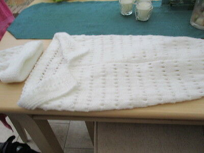 Hand Knitted  Papoose/Cocoon/Sleeping Bag Blanket/Hat Aran  0-3 months White