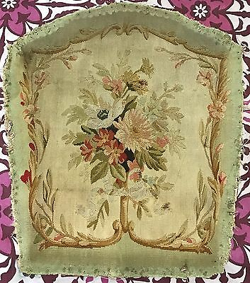 Antique 18C Aubusson French Hand Woven Tapestry Chair Cover Panel
