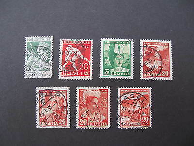 Switzerland selection of 7 early Pro Juventute  SG  used cat £31