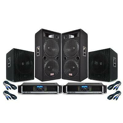 """Professional Pa System Dual 15"""" Pa Speakers Subwoofer Bass Bins Skytec Amps Kit"""
