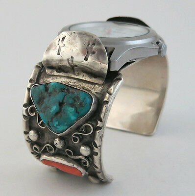 Super Heavy Vintage Sterling Silver w/ Turquoise & Coral Watch Cuff Bracelet