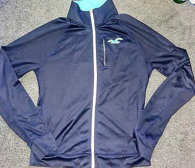 Mens Hollister Zip Hoodie Hoody Stretchy Fabric Size Large Navy