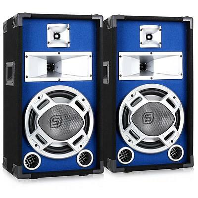 """Surround Sound Speakers Blue Led Pa Party Disco 10"""" Passive 800 W Music Pair New"""