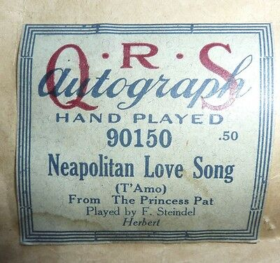 QRS Autograph 90150 Neapolitan Love Song Victor Herbert  Played by F.  Steindel