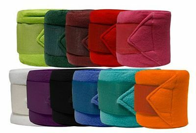 """FLEECE Horse POLO WRAPS 4"""" Wide x 120"""" Long with Touch Closure SET of 4"""