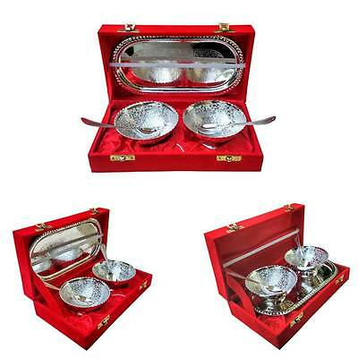 3 SET Indian Crafted Silver Plated Serving Set with 1 Tray, 2 Bowls and 2 Spoon