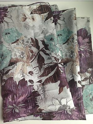 HOME TRENDS Shower Curtain Modern Flower Contemporary Purple Blue Gray Polyester