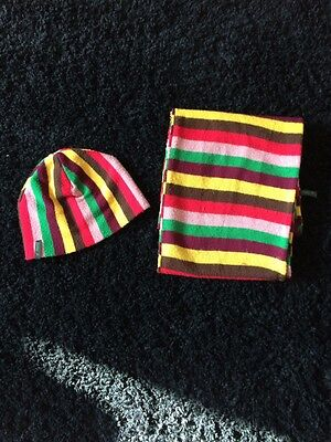 Mens Striped Hat & Scarf Set