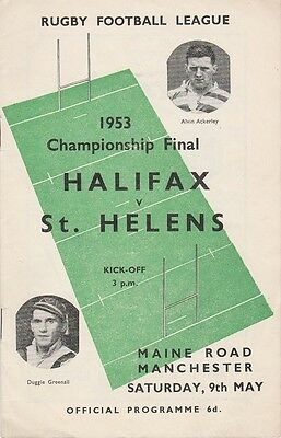 9.3.1953 Championship Final  HALIFAX v St. HELENS at Maine Road, Manchester