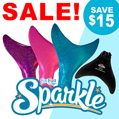 Sparkle Mermaid Tail with Monofin by Fin Fun - Kids and Adult Sizes - All Colors