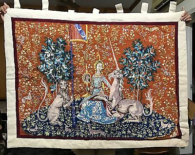 Old Hand Made French Aubusson Design Tapestry Needle Point 89 X 122 Cm