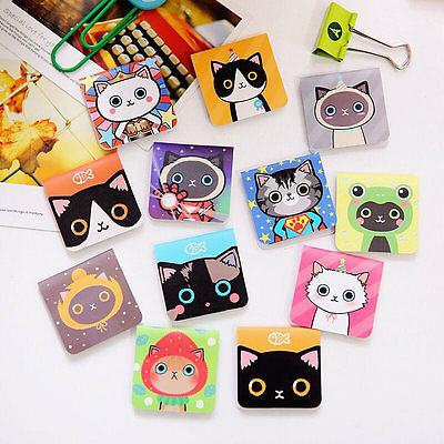 3pc/sheet Cat Pattern Note Magnetic Bookmark Novelty Ducument Book Marker Label