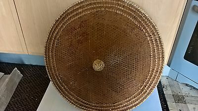 large vintage bamboo conical coolie hat
