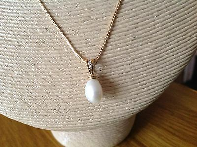 WOW DESIGNER FRESHWATER PEARL & DIAMONDS 18ct GOLD PENDANT  EXCELCOND