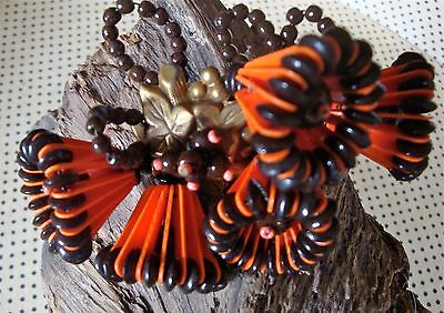 Miriam Haskell 1940's classic celluloid strips and glass beads bells shaped pin