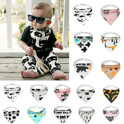 Cute Cartoon Baby Cotton Bandana Bibs Feeding Towel Dribble Triangle Waterproof