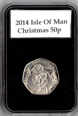 2014 IOM 50p Fifty Pence Christmas Coin SNOWMAN AND DOG BUNC