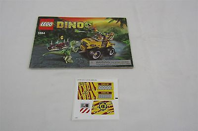 LEGO 5884 DINO Raptor Chase Instruction Manual and stickers Only
