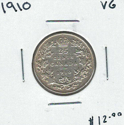 Canada 1910 Silver 25 Cents VG Lot#3