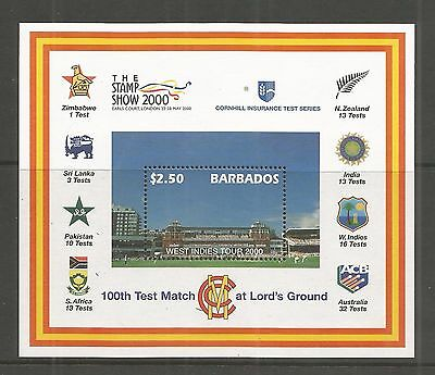 Barbados 2000 Cricket Tour  Minisheet Sg,ms1170 Um/m Nh Lot 155L