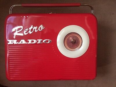 Vintage Lunchbox Retro Radio Red Metal Rare