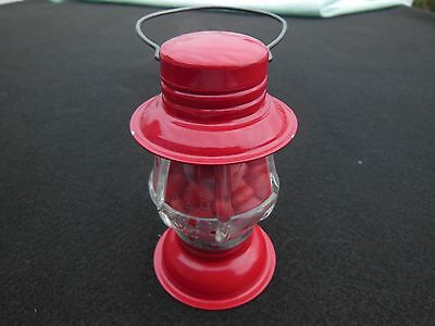 Vintage Glass Candy Container -Avor Tin Lantern w/ Candy-never opened