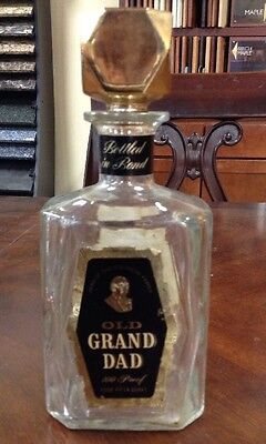 #b Old Grand Dad - Barware - Glass Decanter - Empty Bottle 100 Proof