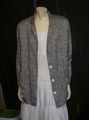 vintage Black & White Animal Print Blazer Jacket Duster 1980s large size plus?