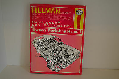 Hillman/Chrysler Avenger USED Haynes Repair Workshop Manual 1970 to 1978 (037)
