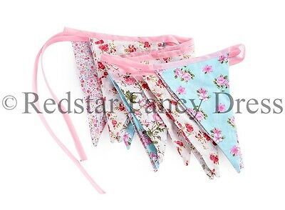 Vintage Fabric Bunting Floral Shabby & Chic Wedding Garland 3M Long Party Home
