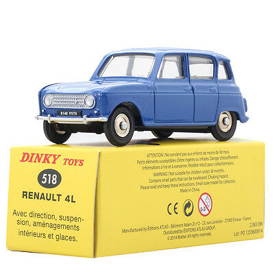 1:43 Atlas Dinky Toys 518 Renault 4L Blue Diecast Car Toy Gift