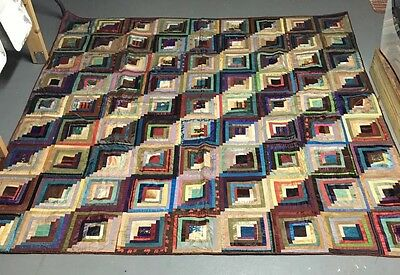 Authentic Early 19th Century American Hand Made Silk Quilt