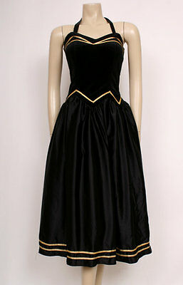 ORIGINAL VINTAGE 80's 1980's VELVET GOLD BLACK HALTERNECK PARTY DRESS! UK 8-10