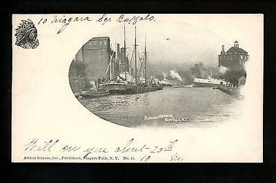 Buffalo, New York NY Vintage postcard Harbor view Native American Indian 1898