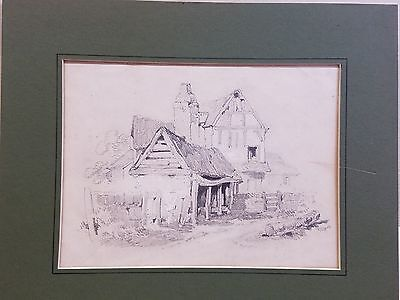 Original Antique Art Pencil Drawing of An Old Barn 1835