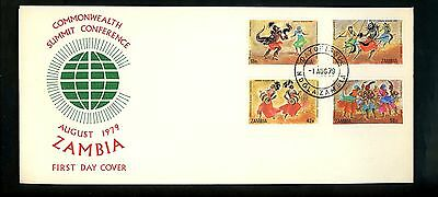 Postal History Zambia FDC #192-195 Dance drums music instruments 1979