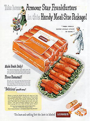 Armour Star Frankfurters Hot Dogs Vintage Ad 1940's 1950's Family Meal Lg Size